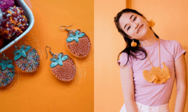 In This World Of Fast Fashion, She Chooses To Knit Her Earrings By Hand