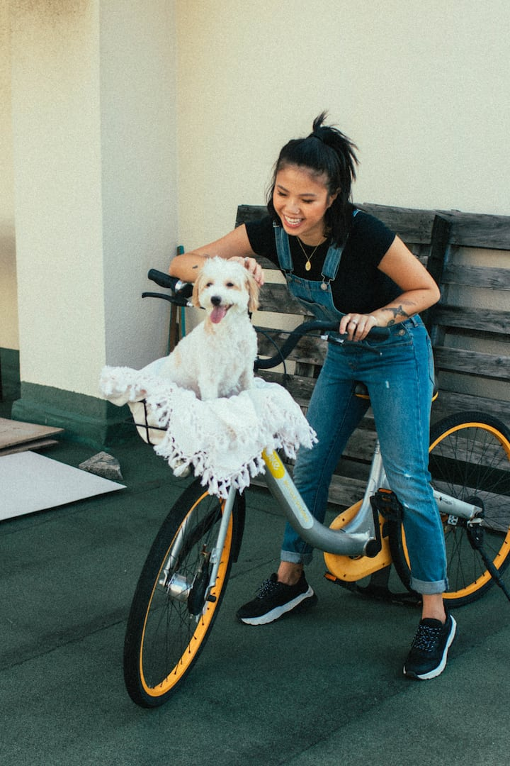 Layla Luna Founder, Joie Tan with her maltipoo, Layla